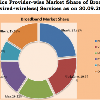 Chart showing Indian broadband market share in Sept 2015