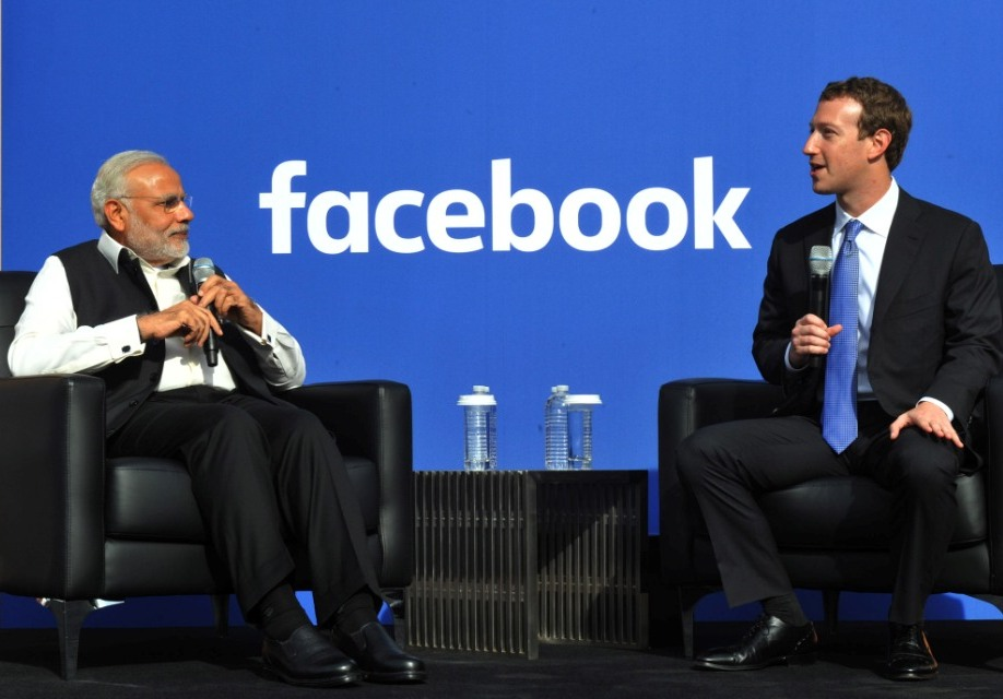 Narendra Modi and Facebook CEO Mark Zuckerberg in San Jose, California