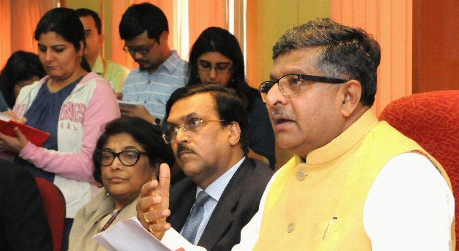 Telecom minister Ravi Shankar Prasad at a press meet