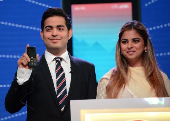 Akash Ambani and Isha Ambani at JioPhone launch