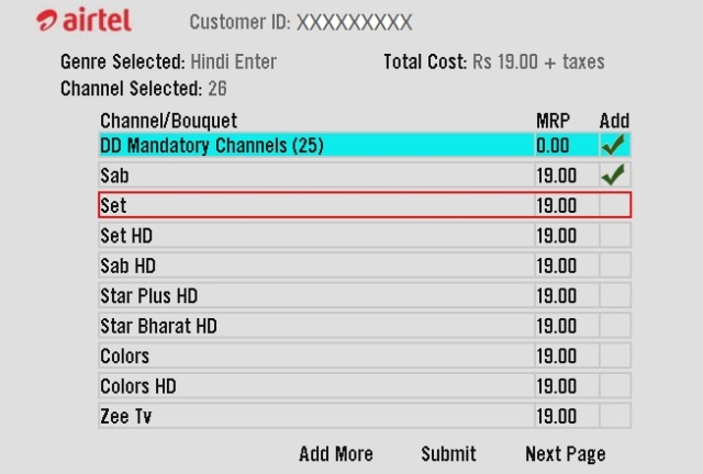 Airtel digital TV channels
