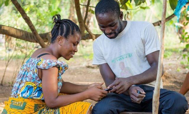 Smartphone user in Africa