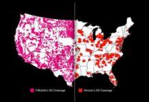 5G coverage of T-Mobile vs Verizon