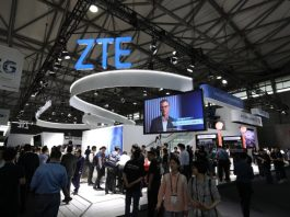 ZTE at a trade show booth
